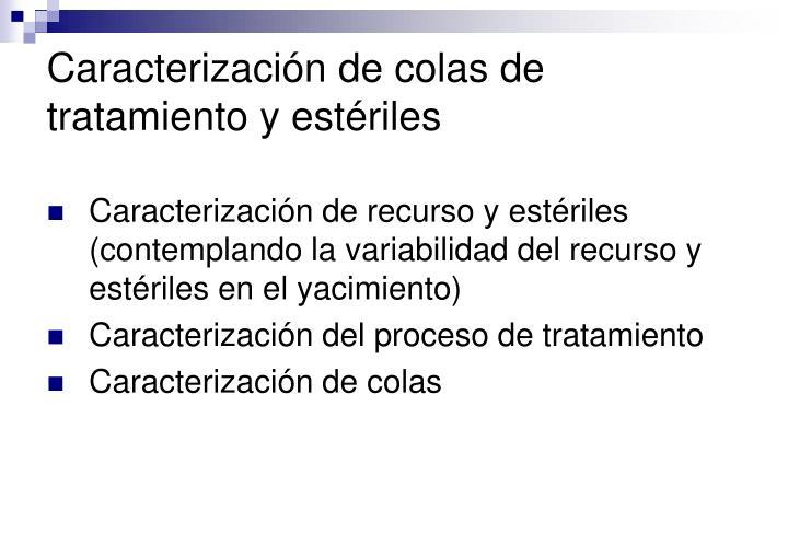 Caracterización de colas de tratamiento y estériles