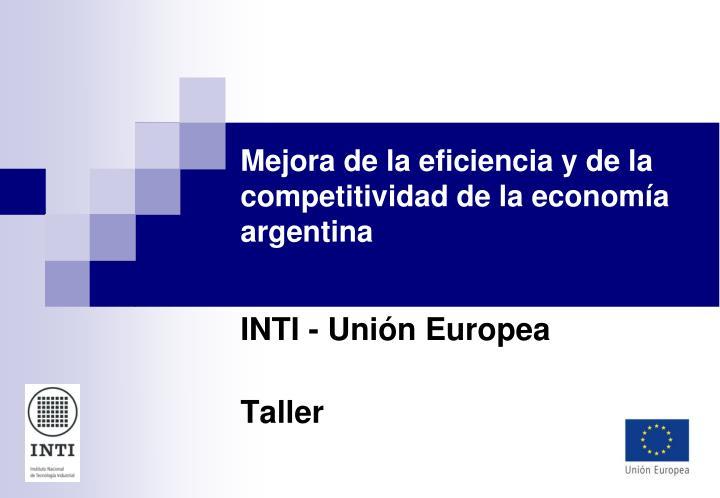 Mejora de la eficiencia y de la competitividad de la economía argentina
