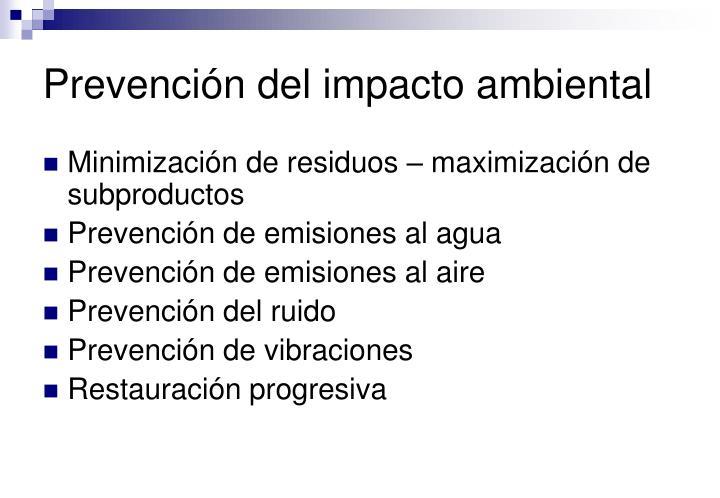 Prevención del impacto ambiental