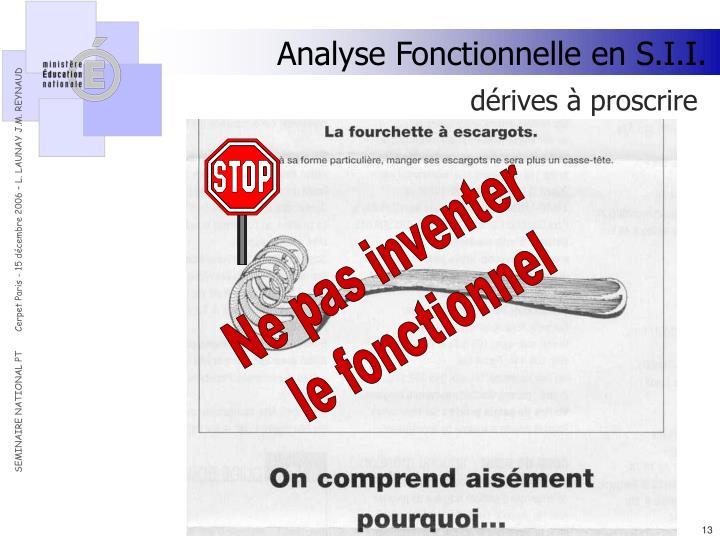 Analyse Fonctionnelle en S.I.I.