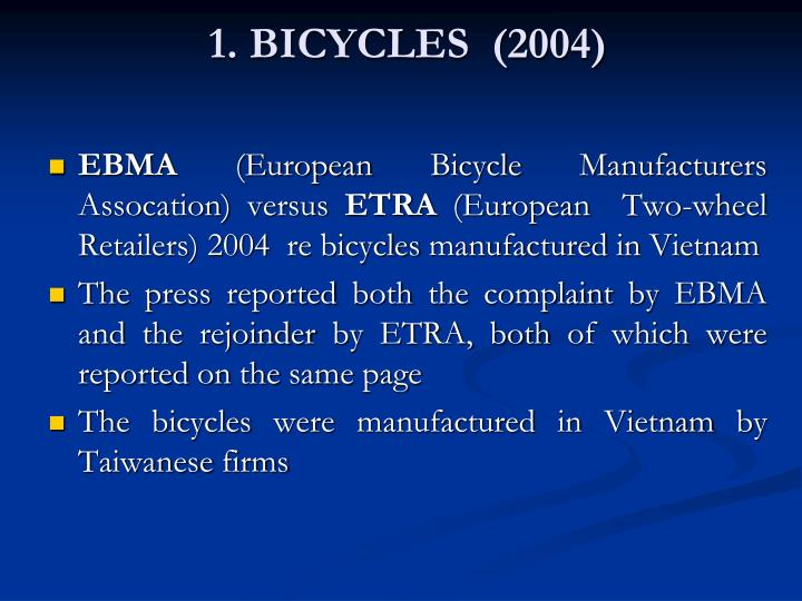 1. BICYCLES  (2004)