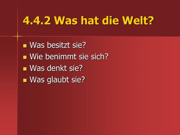 4.4.2 Was hat die Welt?