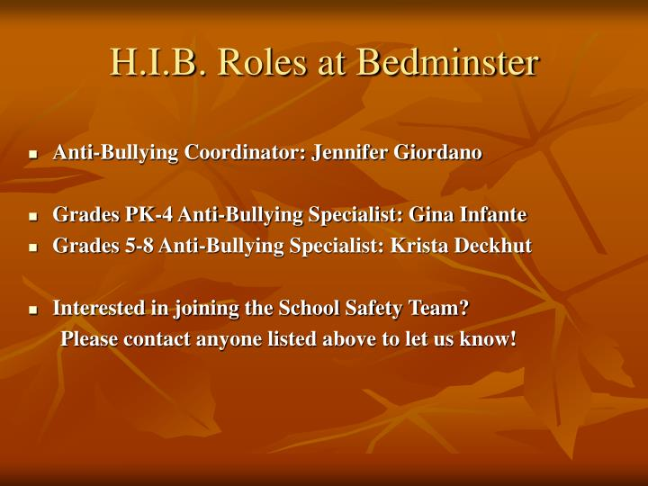 H.I.B. Roles at Bedminster