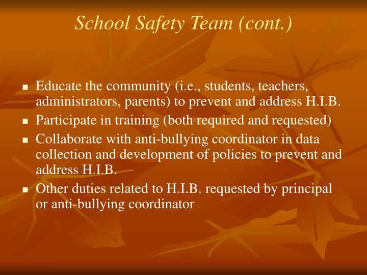 School Safety Team (cont.)