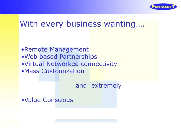 With every business wanting….