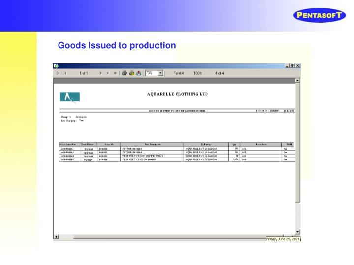 Goods Issued to production