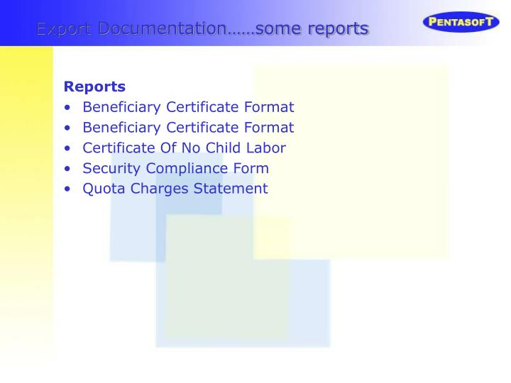 Export Documentation……some reports