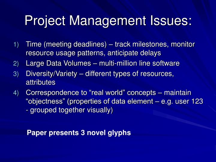 Project Management Issues: