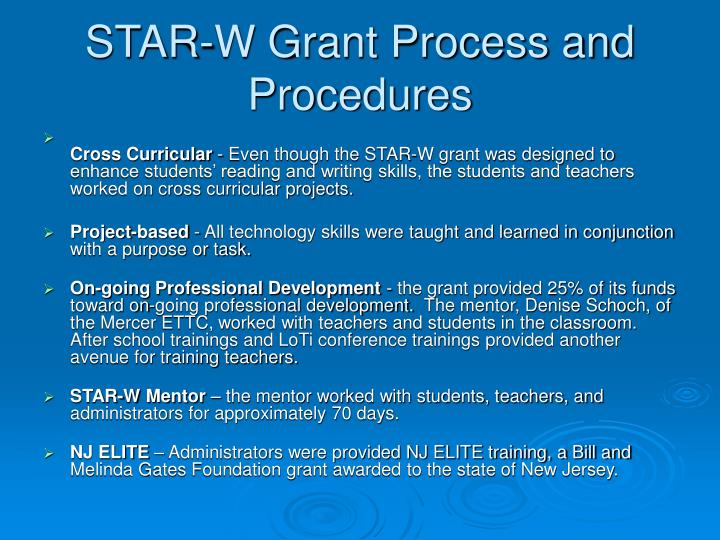 STAR-W Grant Process and Procedures
