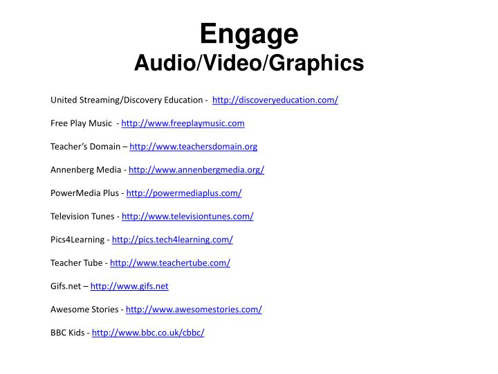 Engage audio video graphics