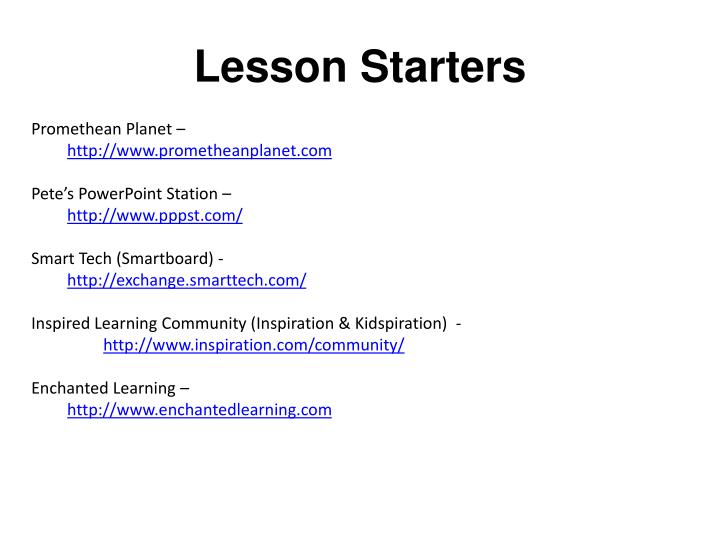 Lesson Starters