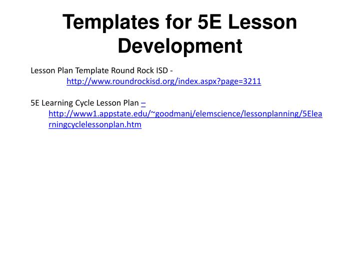 Templates for 5e lesson development