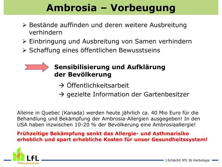 Ambrosia – Vorbeugung