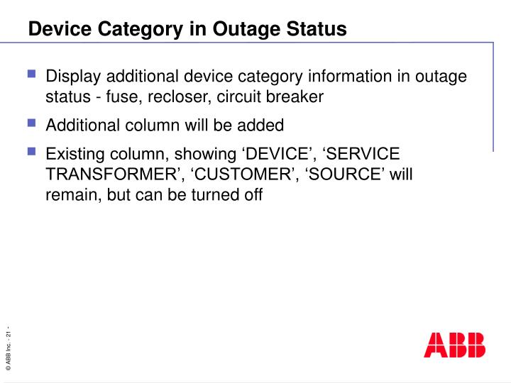 Device Category in Outage Status