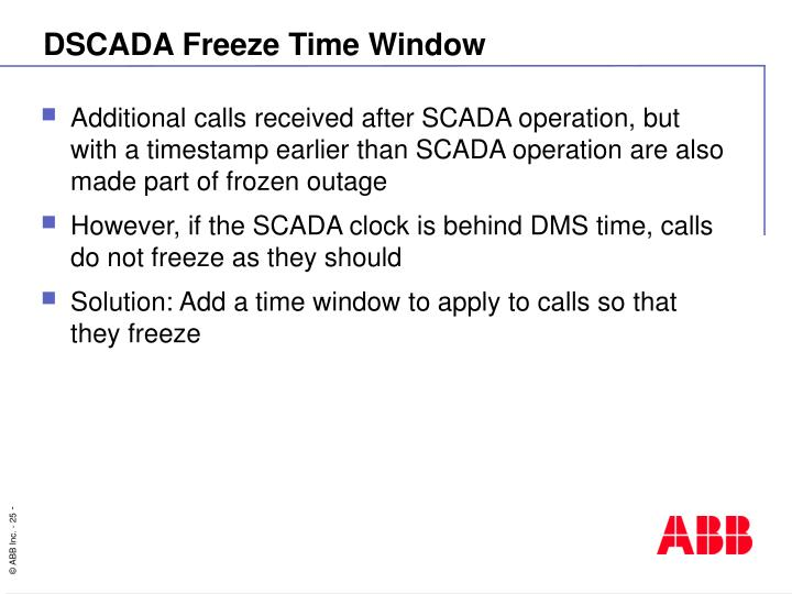 DSCADA Freeze Time Window
