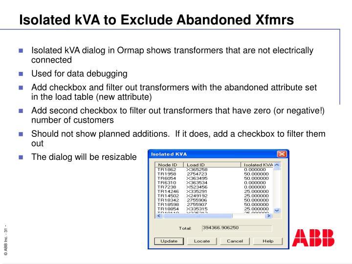 Isolated kVA to Exclude Abandoned Xfmrs