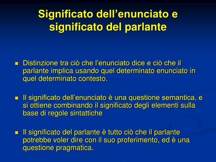 Significato dell'enunciato e significato del parlante