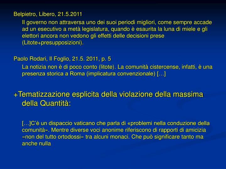 Belpietro, Libero, 21.5.2011