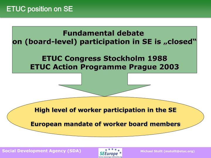 ETUC position on SE