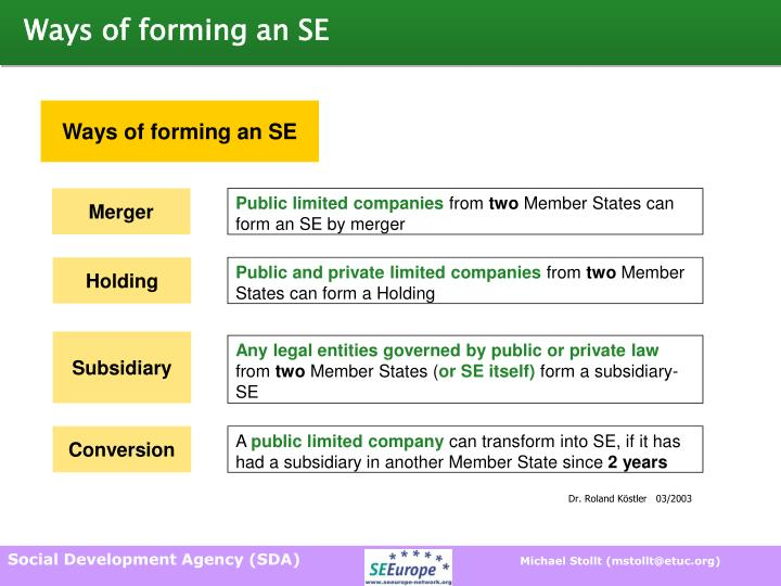 Ways of forming an SE