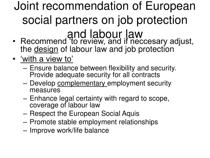 Joint recommendation of European social partners on job protection and labour law