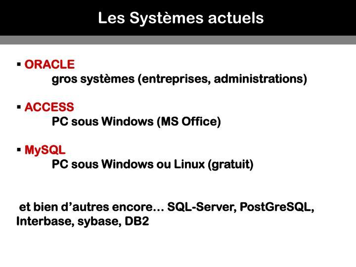 Les Systèmes actuels
