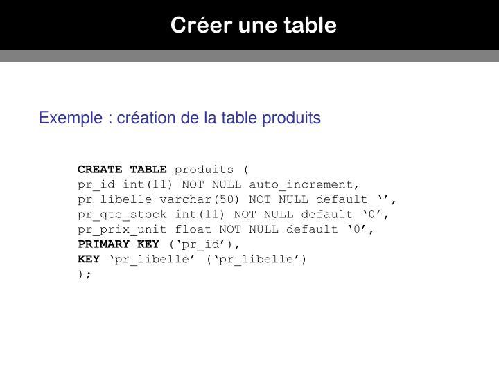 Créer une table