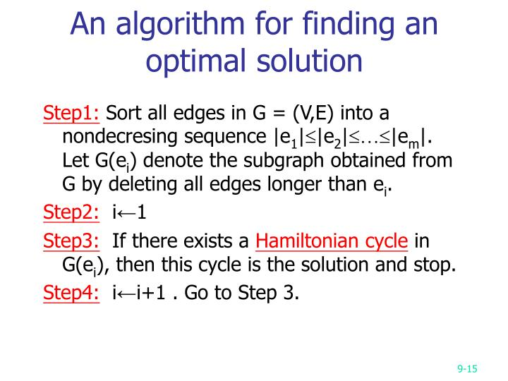 An algorithm for finding an optimal solution