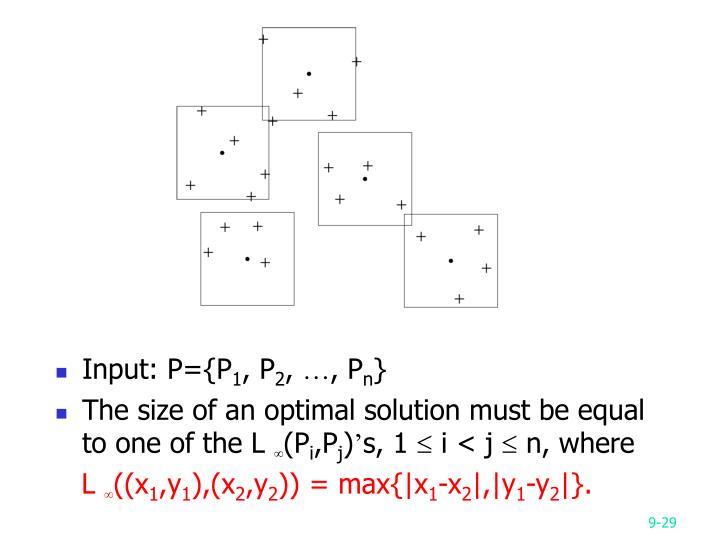 Input: P={P