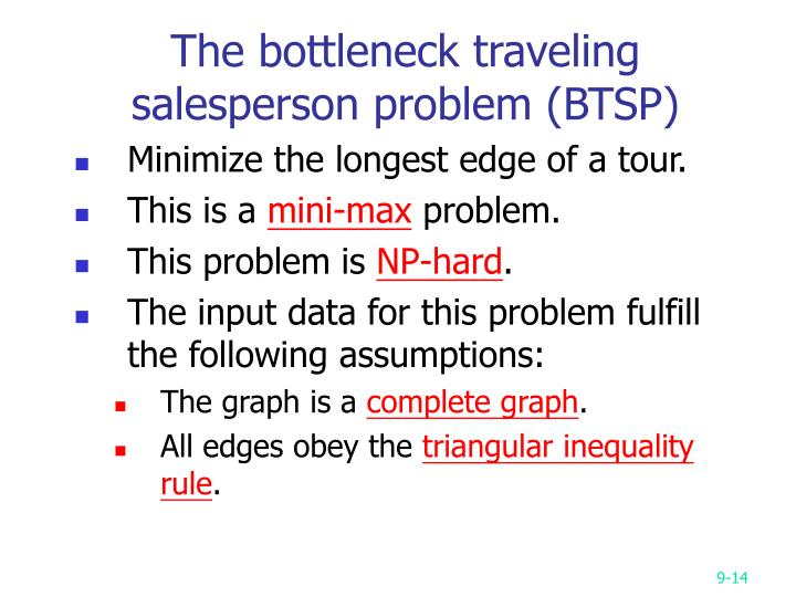 The bottleneck traveling salesperson problem (BTSP)