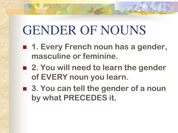 GENDER OF NOUNS