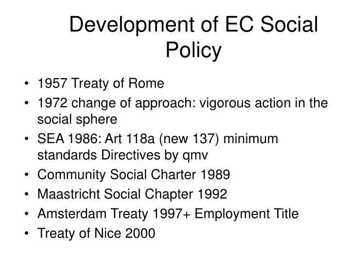 Development of EC Social Policy