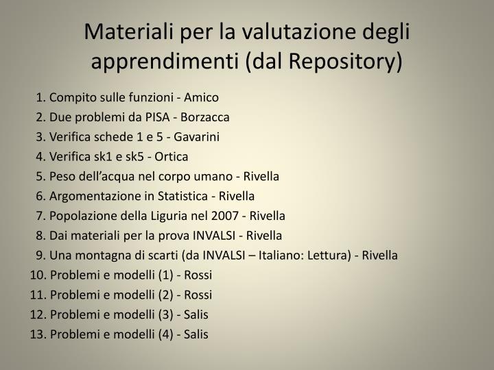 Materiali per la valutazione degli apprendimenti (dal Repository)