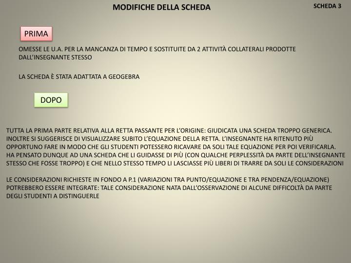 MODIFICHE DELLA SCHEDA