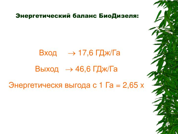 Энергетический баланс БиоДизеля