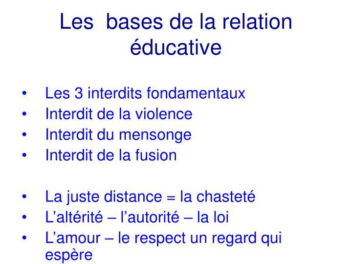 Les  bases de la relation éducative