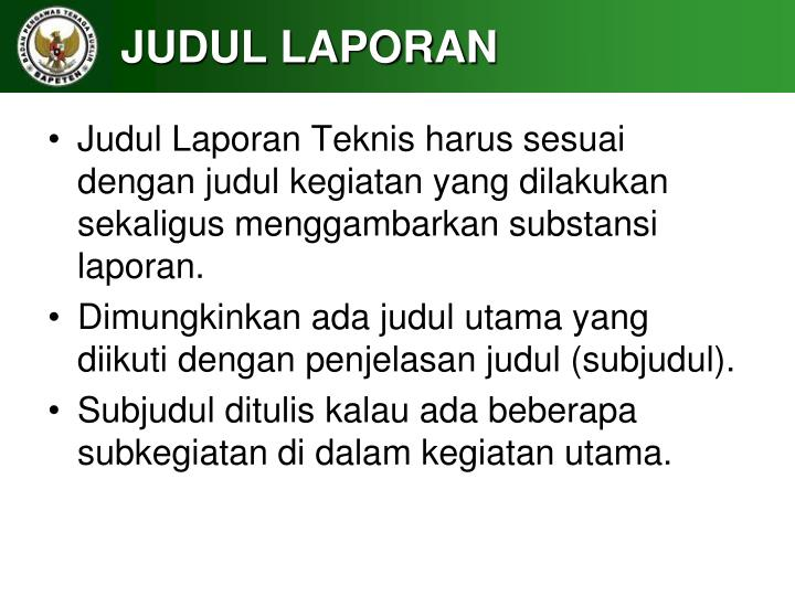 JUDUL LAPORAN