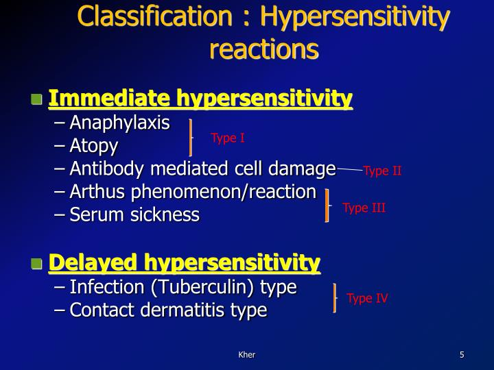 Classification : Hypersensitivity reactions