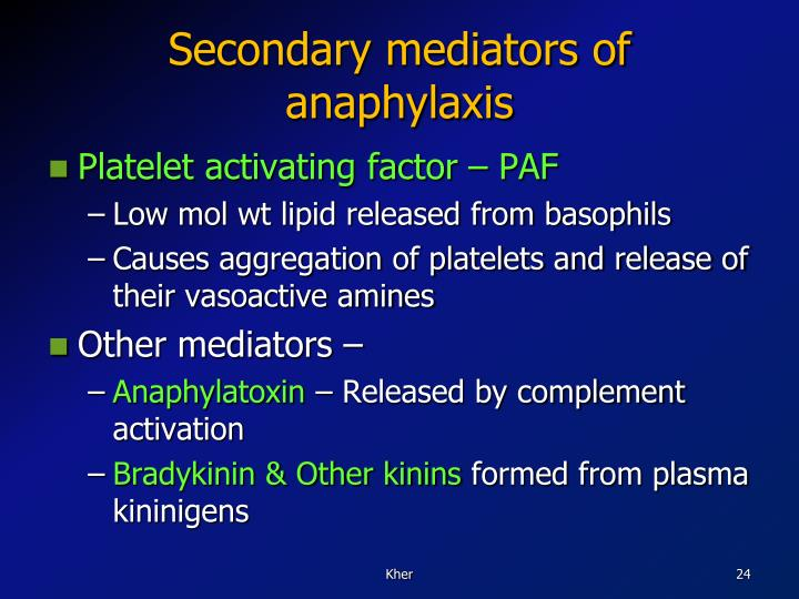 Secondary mediators of anaphylaxis