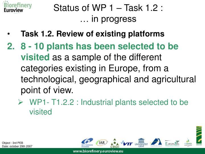 Status of WP 1 – Task 1.2 :