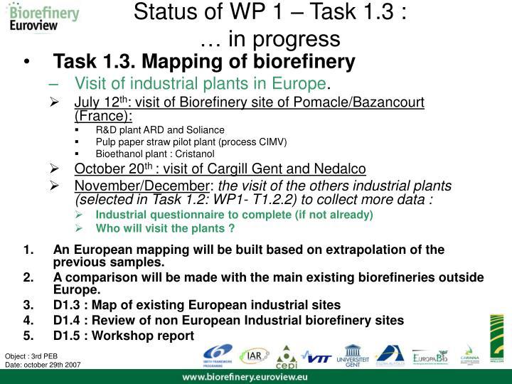 Status of WP 1 – Task 1.3 :