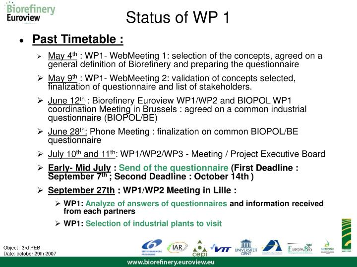 Status of WP 1