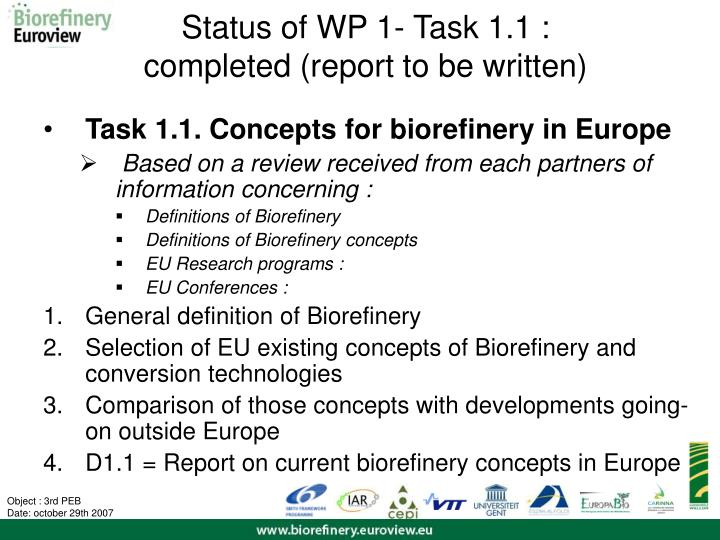 Status of WP 1-