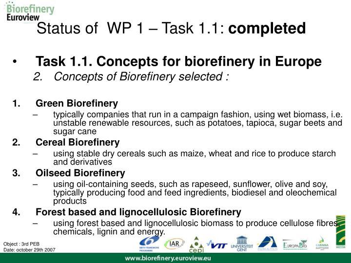 Status of  WP 1 – Task 1.1: