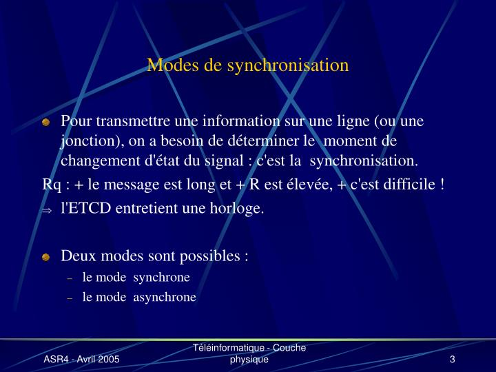 Modes de synchronisation