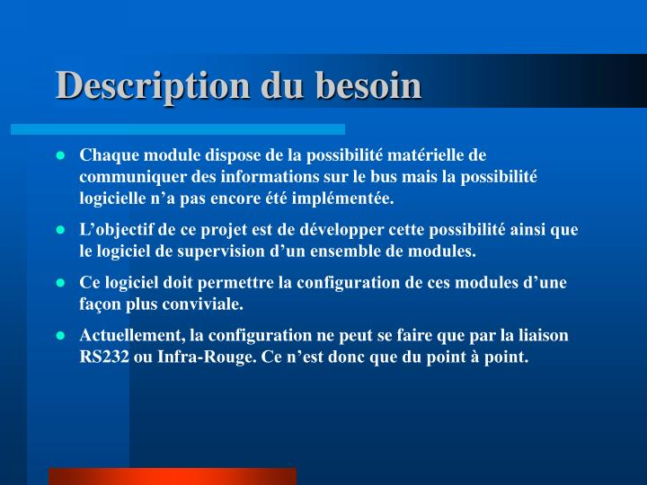 Description du besoin