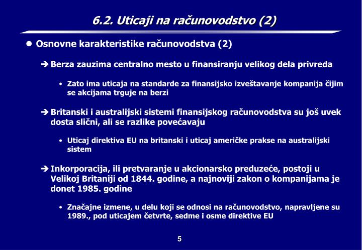 6.2. Uticaji na računovodstvo (2)
