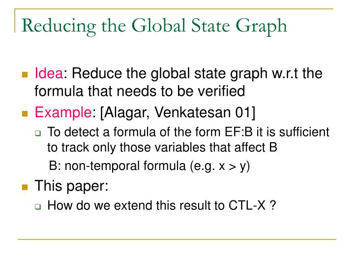 Reducing the Global State Graph