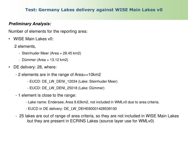 Test germany lakes delivery against wise main lakes v0