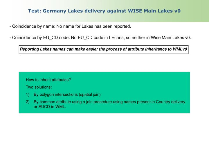 Test: Germany Lakes delivery against WISE Main Lakes v0